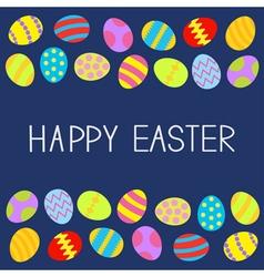 Colored Easter egg set Frame Blue background Flat vector