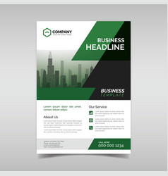 corporate business flyer template with green vector image