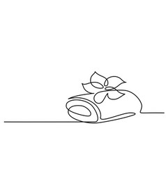 cosmetic beautiful flower with towel line art vector image