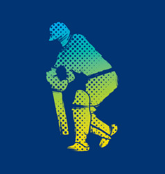 cricket player hit shot design vector image