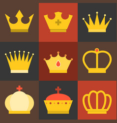 crown flat design set 2 vector image