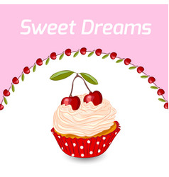 Cupcake and cherry greeting card template vector