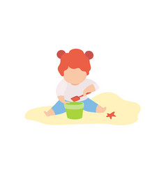 cute little girl playing in sand with bucket and vector image