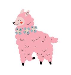 cute llama adorable pink alpaca animal character vector image