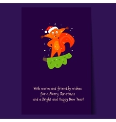 Cute Squirrel Standing on a Branch Christmas vector image