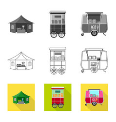 Design of market and exterior sign set of vector