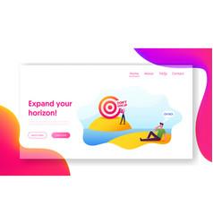 distant goal aim achievement landing page vector image