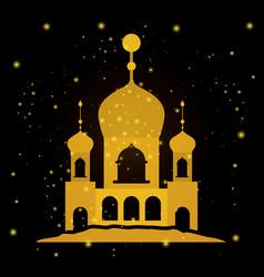 Eid mubarak temple facade vector