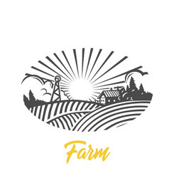 farm logo black and white vector image