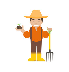 Farmer or gardener with pitchfork vector