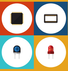 flat icon technology set of mainframe recipient vector image