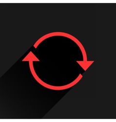 Flat red arrow icon reload repeat sign vector