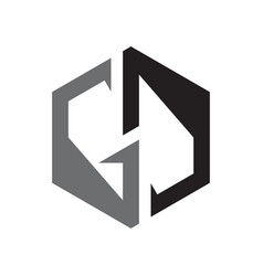Gd letter shaped hexagon style on white vector