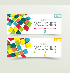 gift voucher template with bright colores 3d vector image