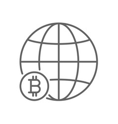 global bitcoin world thin line symbol icon design vector image