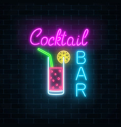 glowing neon cocktails bar signboard on dark vector image
