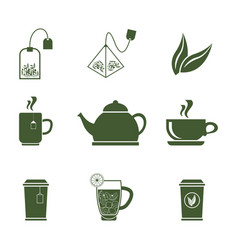 green tea icons set on white background vector image