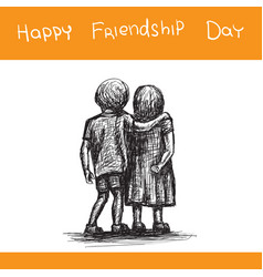 greeting card for happy friendship day boy hugged vector image