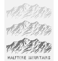 Halftone mountain range set vector