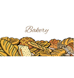 hand drawn sketch baked bread background vector image