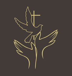 hands and cross dove vector image