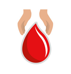 hands with blood drop donation symbol vector image