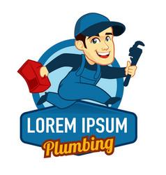 handyman logo mascot cartoon vector image