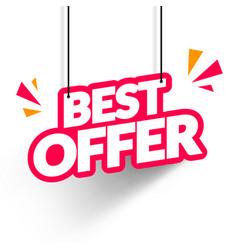 hanging best offer label vector image
