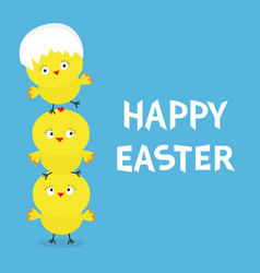 happy easter chicken pyramid family set egg shell vector image