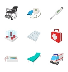 Healing icons set cartoon style vector