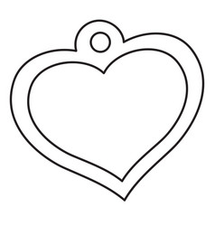 Heart-shaped medallion outline drawing isolated vector