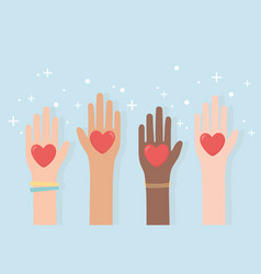 Human rights raised hands diversity with hearts vector
