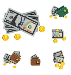 Icons beautiful wallets with money in a vector