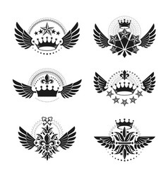 imperial crowns and vintage stars emblems set vector image