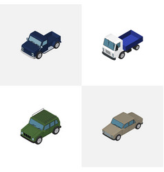 isometric car set of suv auto lorry and other vector image