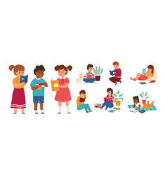 kids readers boys and girls reading books vector image