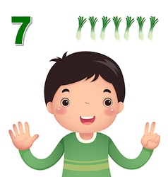 Learn number and counting number seven vector