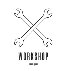 line style icon crossed wrenches workshop vector image