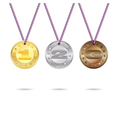 Medals set with ribbon vector