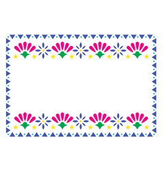 Mexican frame design with flowers vector