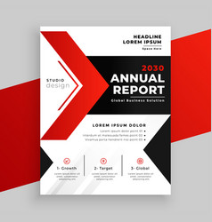 Modern red theme annual report business template vector