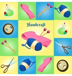 Modern set for needlework seven different objects vector image
