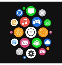 Modern smartwatch style background with icons vector