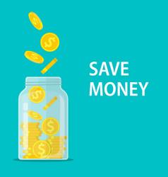 money jar saving dollar coin in jar vector image