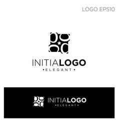 Monogram initial b or d logo template black color vector