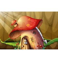 Mushroom house in the garden vector