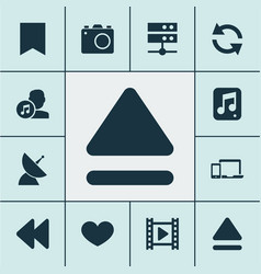 Music icons set with datacenter devices backward vector