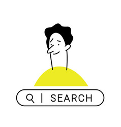 Outline cartoon man curious man with search bar vector