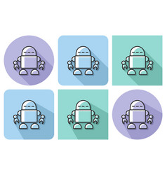 outlined icon of robot with parallel and not vector image