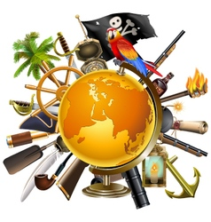 Pirate Globe Concept vector